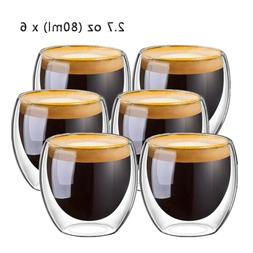 New 6Pcs 80ml 2.7oz Glass Double Walled Heat <font><b>Insula