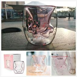 Pre-Order Pink Sakura Cat Paw Double-layer Glass Coffee Cup
