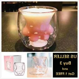 Sakura Cat Paw Glass Cup Coffee Milk Mug Pink for Starbucks