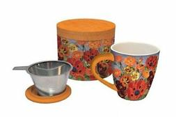 Lang Pretty Poppies Tea Infuser Mug, Multicolor