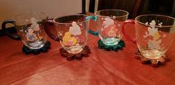 Disney Princess Plastic Cups / Mugs set of  with glittery ha