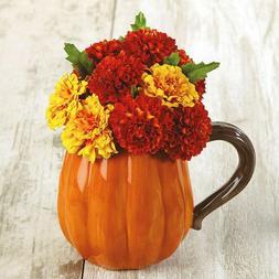 Pumpkin Shaped Ceramic Mug 16 oz Holiday Coffee Tea Cup Fall