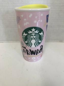 Rare 2016 Pink Starbucks Hawaii Ceramic Tumbler 12 oz Cup Co