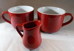 Red with White interior Jumbo Coffee Mugs and Creamer Set; 1