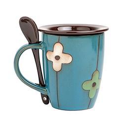 Verdental Retro Ceramic Drum Shaped Coffee Mug with Lid and