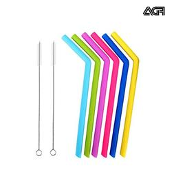 ZYTC Reusable Silicone Drinking Straws with 2 Cleaning Brush