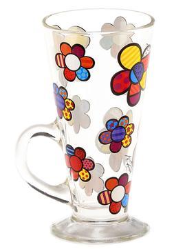 Romero Britto Mug Clear Glass Latte Mug with Flowers Design