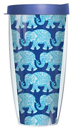 Royal Elephants On Blue Wrap Super Traveler 22 Oz Tumbler Mu