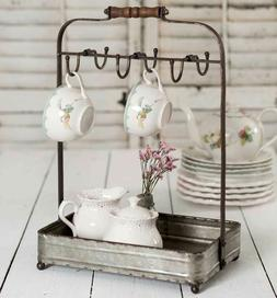 Rustic Farm House Country Style Tabletop Mug Rack with Tray