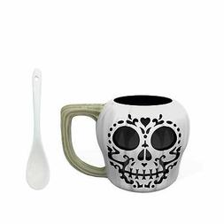 Zak Designs Sculpted Calavera Sugar Skull Ceramic Coffee Mug