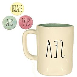 Rae Dunn SEA Mug Coffee Cup Gift Set with Sea Surf and Beach