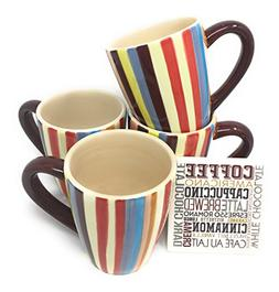 Sedona Set of Four 16 Ounce Ceramic Coffee Mugs Vertical Str