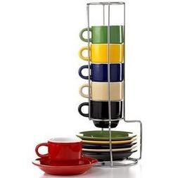 Espresso Cups Set by Gibson Coffee cup set with metal rack S