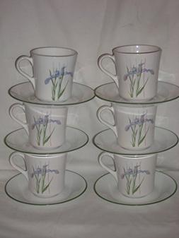12 Piece Set - Corning Corelle Shadow Iris 8 oz. Cups & Sauc