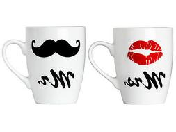 Set of Mr. and Mrs. Coffee or Tea Mugs Gift Box Marriage Wed