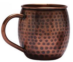 Melange Set of 16 Antique Finish 16 Oz Copper Barrel Mug for