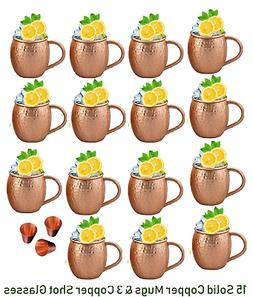 Set of 16 Moscow Mule Copper Mugs, Hammered Barrel 16 oz PUR