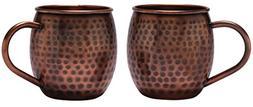 Melange Set of 2 Antique Finish 16 Oz Copper Barrel Mug for