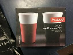 Set Of 2 Bodum Bistro Porcelain Mugs 20.3 oz Silicone Sleeve