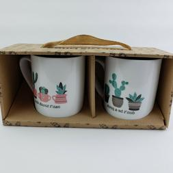 Set of 2 Cactus Themed Coffee Cups Mugs by 10 Strawberry Str