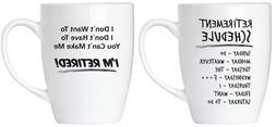 """BRUBAKER Set of 2 Ceramic Mugs - """"Retirement"""" - Greeting Car"""