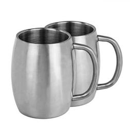Set Of 2, Bruntmor Double Wall Bear Mug 18/8 Stainless Steel