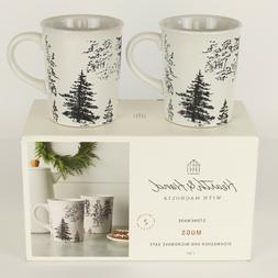 Set of 2 - Hearth and Hand Magnolia - Christmas Tree Mugs Wh