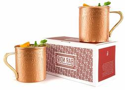 Set of 2 Moscow Mule Hammered Copper Mug 16 oz 100% Pure Cop