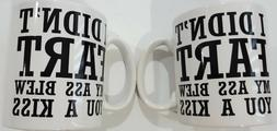 Set of 2 Coffee Mugs Funny joke Naughty Rude I DIDN'T FART 1