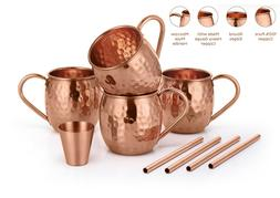 Set of 4 100% Pure Copper Moscow Mule Mugs 16 Oz Shot Glass