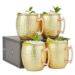 VonShef Set of 4 Barrel Style Gold Moscow Mule Mugs Hammered