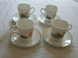 SET OF 4 CORNINGWARE CORELLE HUMMINGBIRD CUPS/Mugs saucers H