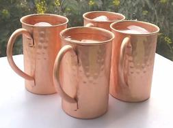 Set of 4 Drinkware Accessories Hammered Classic Copper Mosco