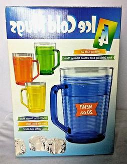 Set Of 4 Ice Cold Gel Mugs 20 Oz 4  Diff Colors Freezer by S