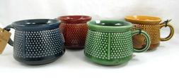 Set of  La Cucina Blue Green Red & Gold Large Coffee Mugs Co