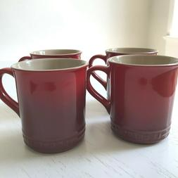 Set of 4 Le Creuset 12 oz Coffee Mugs Cherry Red Never Used