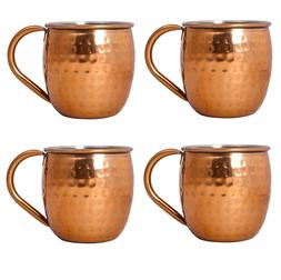 VonShef Set of 4 Moscow Mule Copper Mugs Barrel Style Hammer