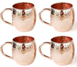 Set of 4 Moscow Mule Copper Mugs, Hammered Barrel PURE Coppe