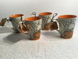 Set of 4 NEW Spectrum Designz Gold Pumpkin Porcelain Beverag