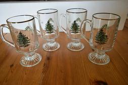 Set of 4 Spode Christmas Tree Glass Irish Coffee Mugs Footed