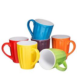 Set Of 6 LARGE Sized 16 OZ Ceramic Coffee Grooved Mugs Multi