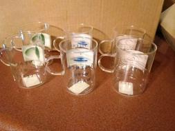 Set of 6 new heat resistant glass tea cups mugs with inspira