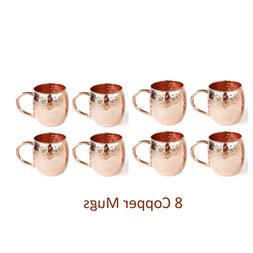 Set of 8 Moscow Mule Copper Mugs, Hammered Barrel PURE Coppe