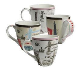 Set of Four  Assorted Paris London Design 16 oz Coffee Mugs