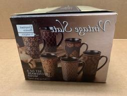 Set Of Six Mikasa Gourmet Basics Stoneware Coffee Mugs  NEW!