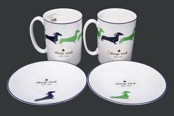 Sets of 4 Kate Spade Wickford Dachshund 10 OZ Mugs Cups Tidb
