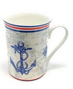 Ships Anchor Red White and Blue Mug Set of 4 - Gracie Teawar