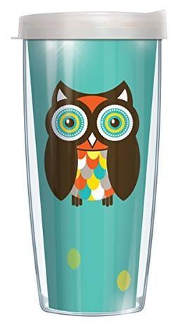 Simon The Owl Wrap Traveler 16 Oz Tumbler Mug with Lid