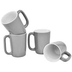 slat mug 16 ounce grey white set