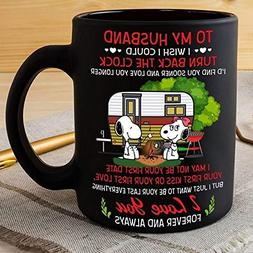Snoopy Camping To My Husband I Love You Forever Mug Black Ce